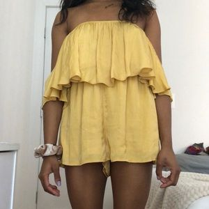 Forever 21 Yellow Off the Shoulder Romper
